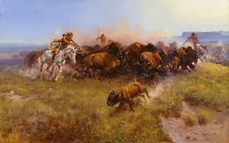 Buffalo Hunt by Charles Russell 1919