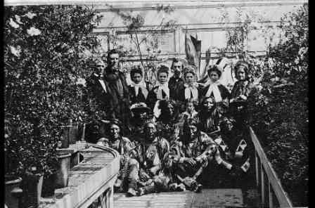 Photograph of the Southern Plains delegation, taken in the White House Conservatory on March 27, 1863